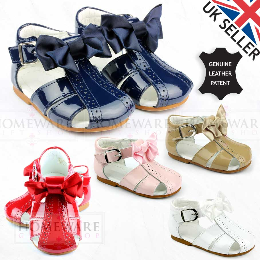 Baby Toddler Girls Spanish Patent Leather Sandals with Bow Red Navy