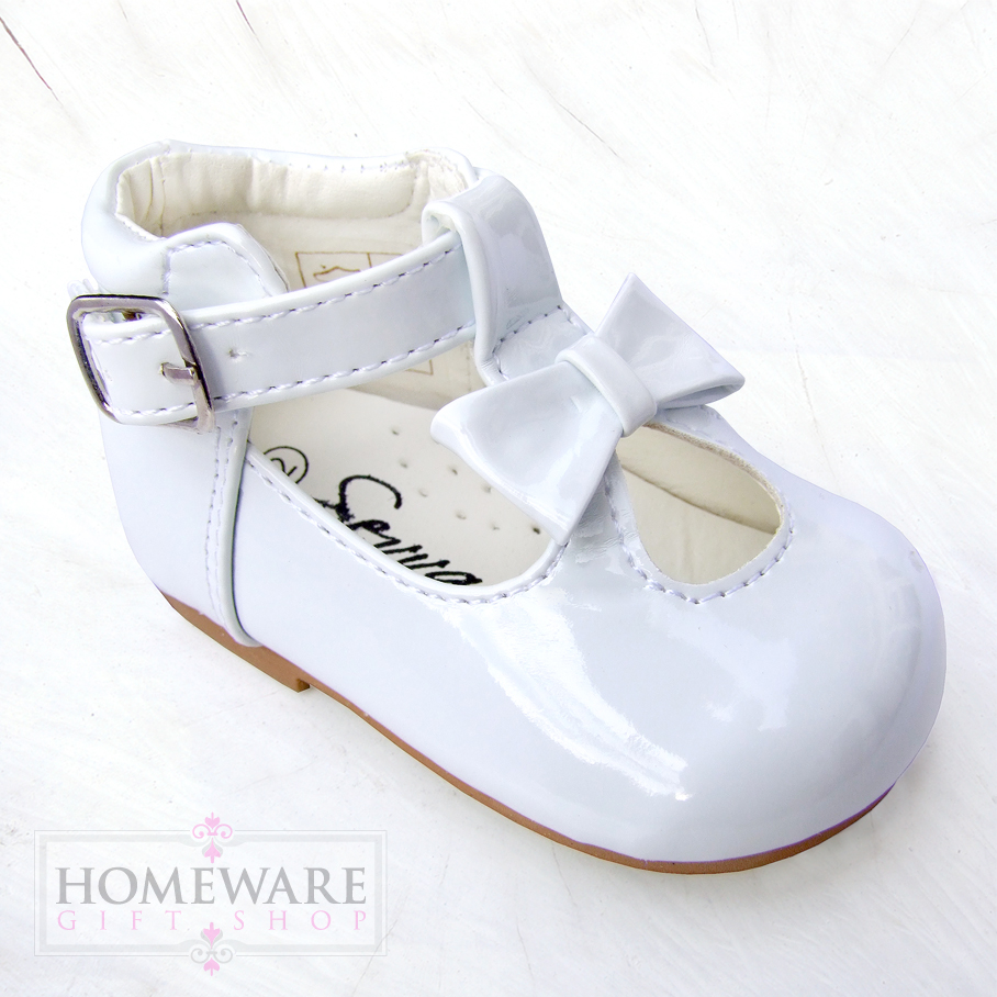 T-BAR SPANISH STYLE PATENT BOW SHOES