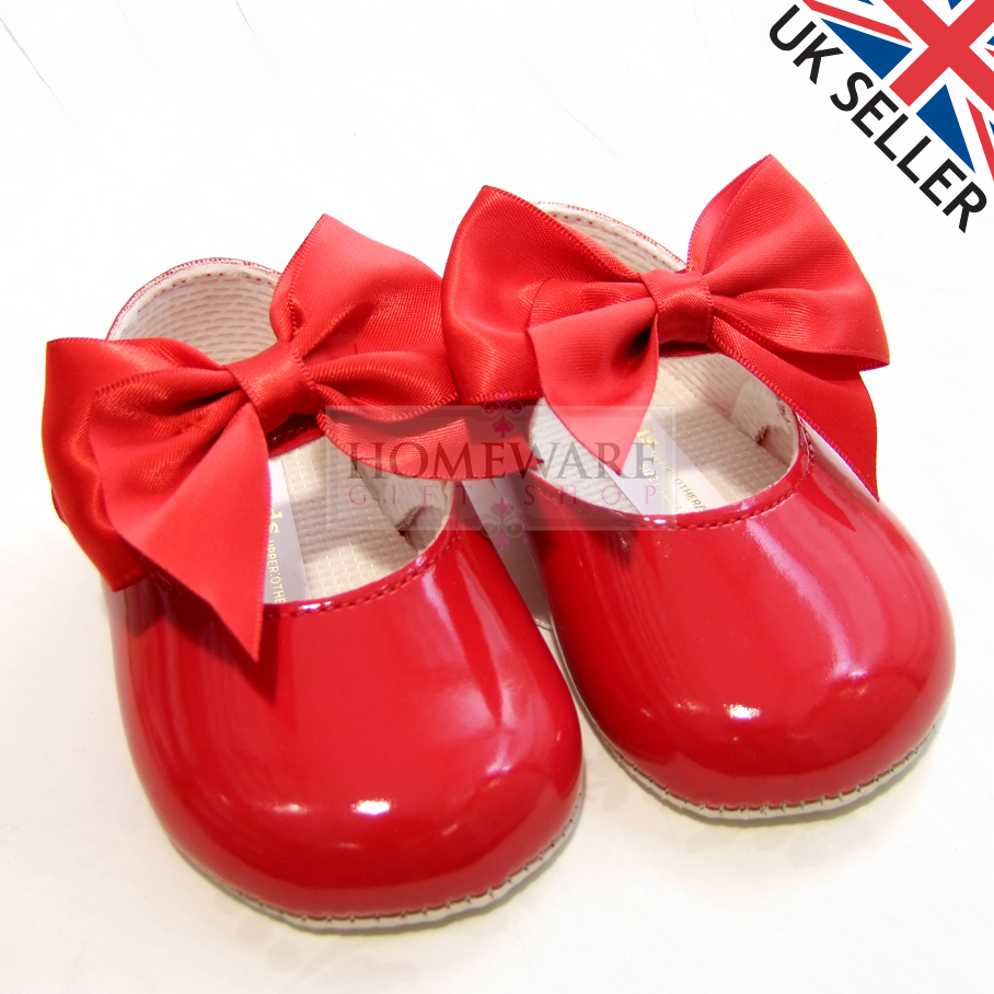 Baby Girls Red Soft Soled Pram Shoes